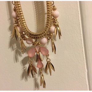 New York & Company Pink and Gold Necklace